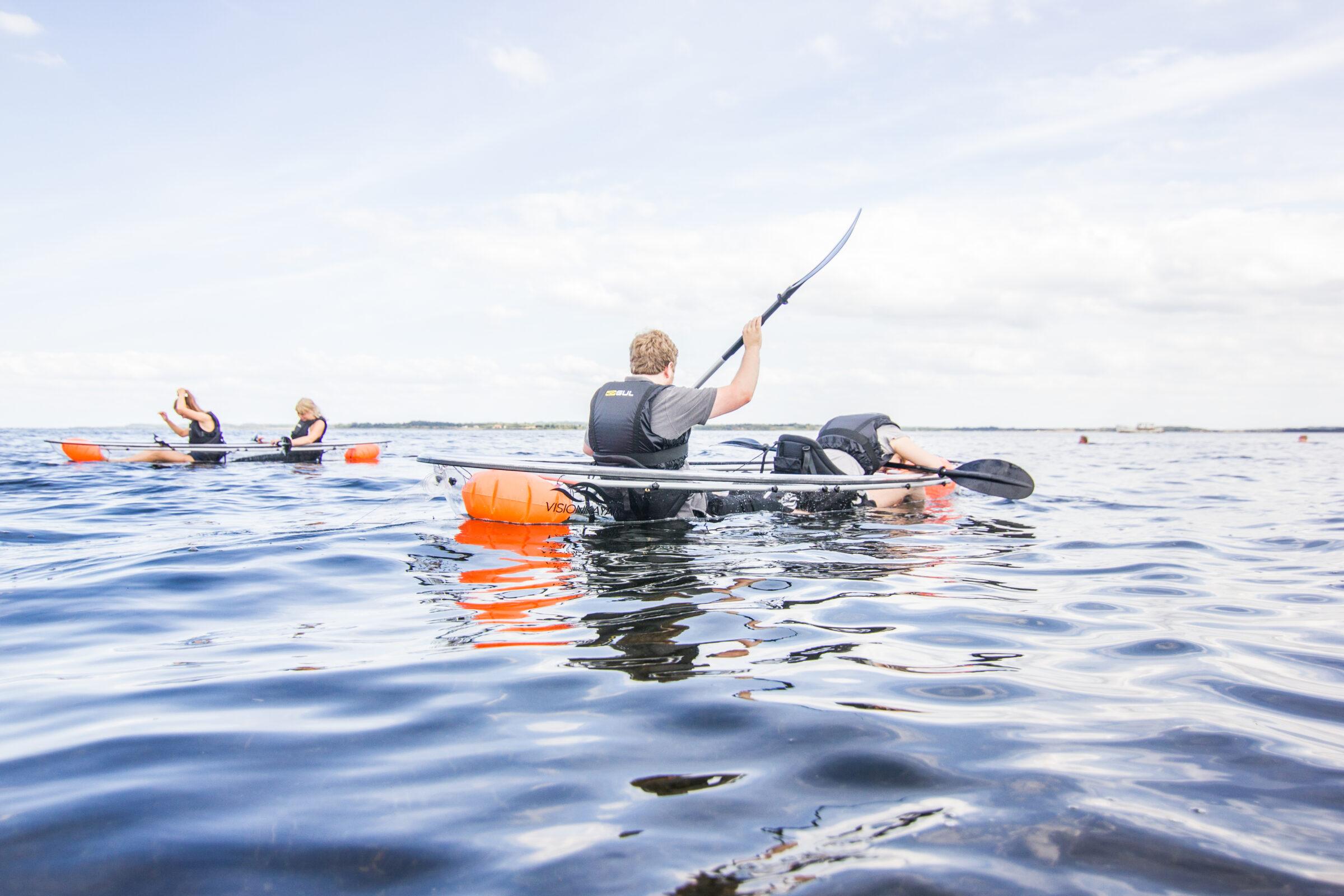Ture i gennemsigtig kajak/glaskajak/kano med VisionKayak i Skive på Limfjorden i Midtjylland/Nordjylland